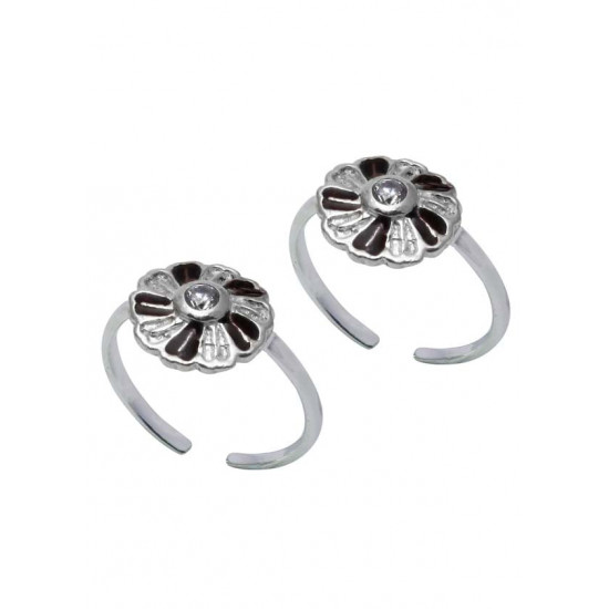 Designer Enamel and Cubic Zirconia Toe Rings Bichiya pure 925 Sterling Silver Adjustable Toe Rings for Gift Women and Girls Mom Bhabhi Sister Wife