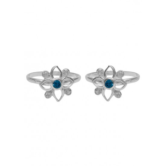 Blue Cubic Zirconia Toe Rings Bichiya pure 925 Sterling Silver Adjustable Toe Rings for Gift Women and Girls Mom Bhabhi Sister Wife