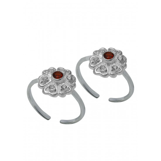Beautiful pair of Cubic Zirconia Toe Rings Bichiya pure 925 Sterling Silver Adjustable Toe Rings for Gift Women and Girls Mom Bhabhi Sister Wife