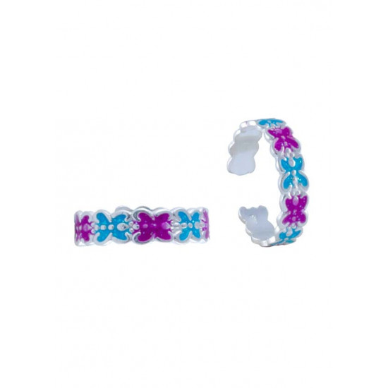 Colorful pair of Purple and Blue Enamel Toe Rings Bichiya pure 925 Sterling Silver Adjustable Toe Rings for Gift Women and Girls Mom Bhabhi Sister Wife